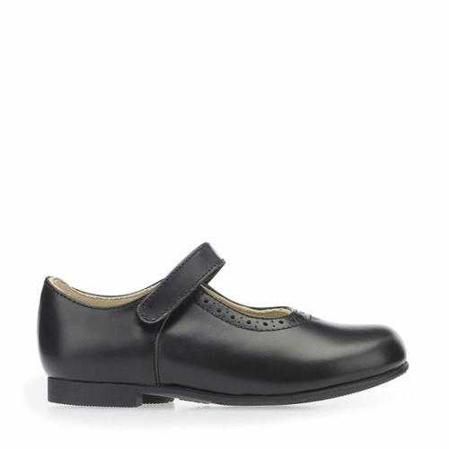 Start-Rite Delphine, Black leather girls riptape traditional school shoes 3440_7