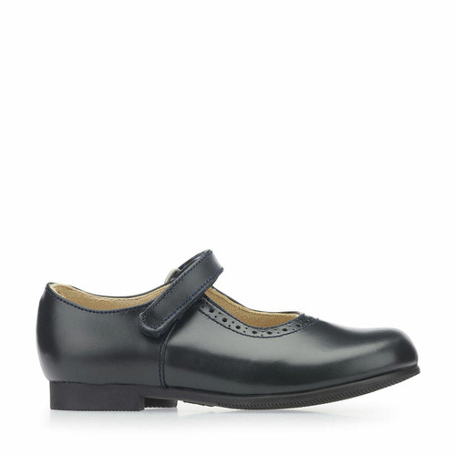 Start-Rite Delphine, navy leather girls riptape traditional school shoes 3440_9
