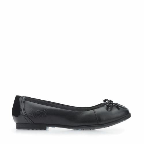 Start-Rite Ballerina, Black Leather Girls Slip-on School Shoes 3502_7