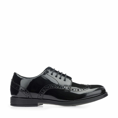 Start-Rite Brogue Snr, black patent girls lace-up closed school shoes 3503_3