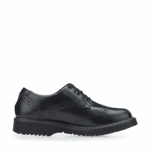Start-Rite Impulsive II, Black leather girls lace-up closed school shoes 3505_7