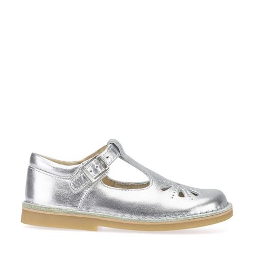 Start-Rite Lottie, silver leather girls buckle shoes 5184_5
