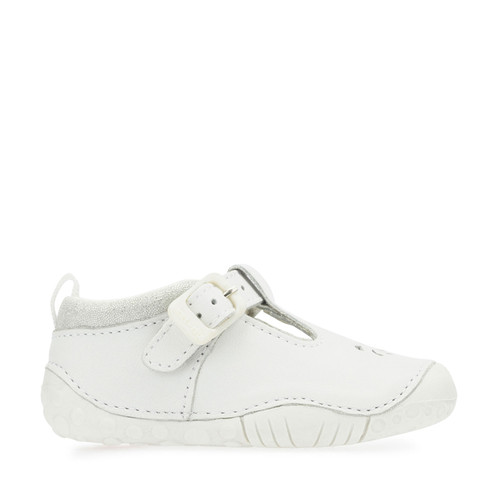 Baby Bubble, White Leather Girls T-bar Buckle Pre-Walkers 0741_4