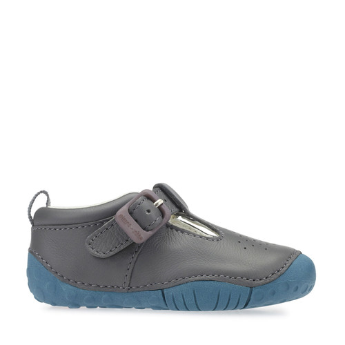 Start-Rite Baby Jack, grey leather boys t-bar pre-walkers 0746_5