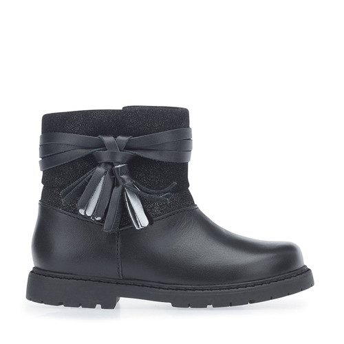 Aria, Black Leather Girls Zip-up Boots 1459_7