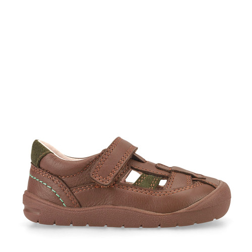 Bumble, Brown Leather Boys Riptape First Walking Shoes 0770_0