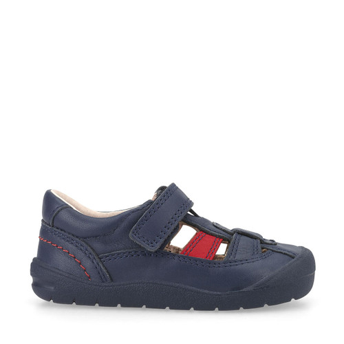 Start-Rite Bumble, navy blue leather boys riptape first walking shoes 0770_9