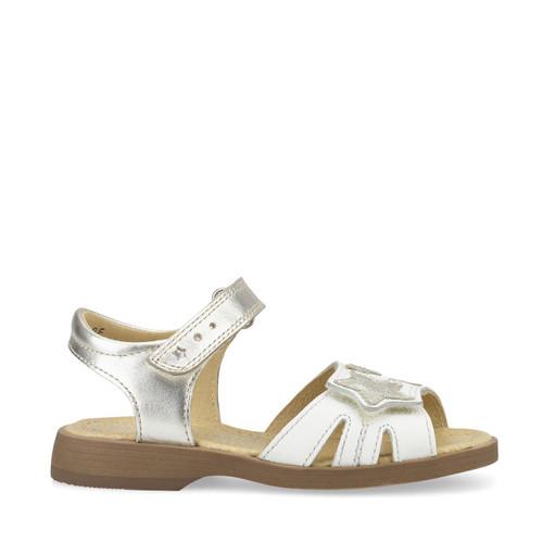Start-Rite Twinkle, white/silver leather girls riptape sandals 5189_5