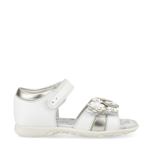 Start-Rite Bloom, white/silver leather girls riptape first walking sandals 5191_4