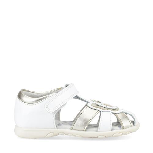 Start-Rite Charm, white patent/silver metallic girls riptape closed toe first walking sandals 5192_4