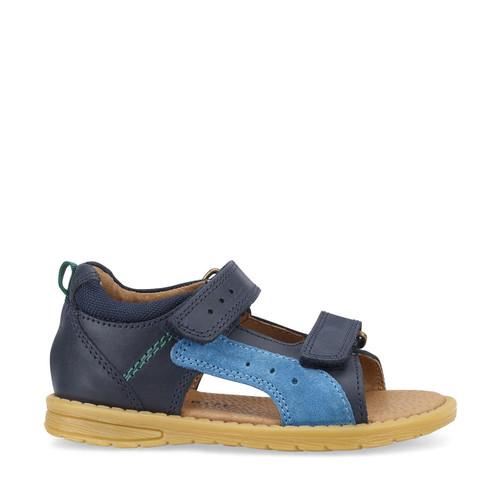 Start-Rite Breeze, navy blue leather boys riptape sandals 5194_9