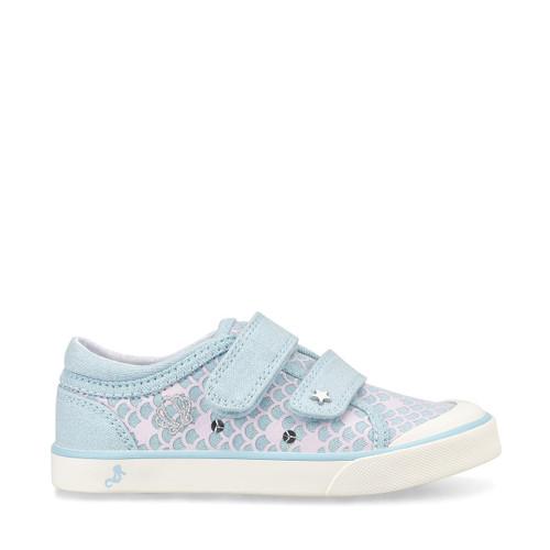 Start-Rite Magic, blue glitter mermaid girls riptape closed canvas shoes 6176_2