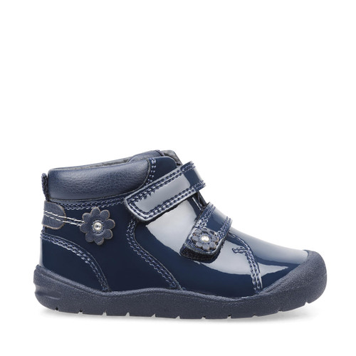 Start-Rite Dream, navy blue patent girls riptape first walking boots 0764_9