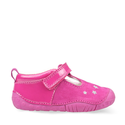 Start-Rite Little Star, Berry Nubuck/Patent Girls T-bar Riptape Pre-walkers 0774_6