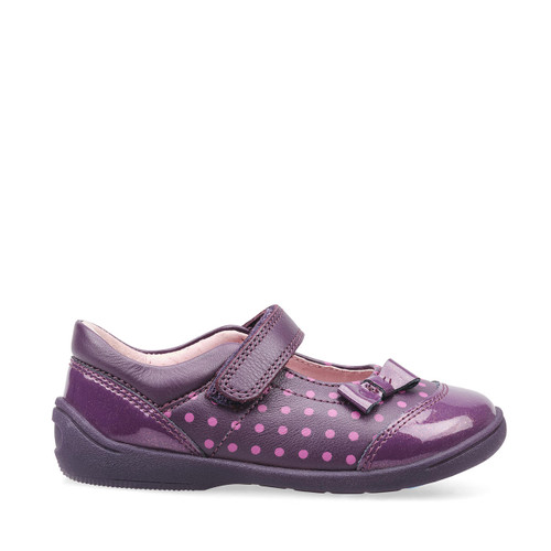 Start-Rite Twizzle, blackcurrant leather/glitter patent girls riptape first walking shoes 1481_1
