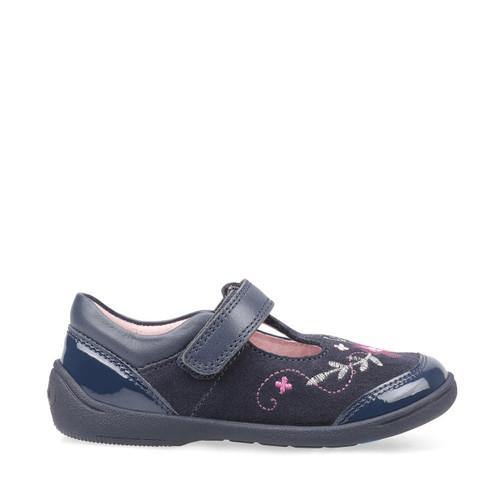 Start-Rite Dance, navy blue suede/patent girls riptape t-bar first walking shoes 1482_9