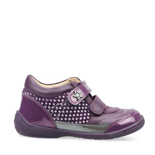 Start-Rite Story, blackcurrant nubuck/glitter patent girls riptape boots 1484_1