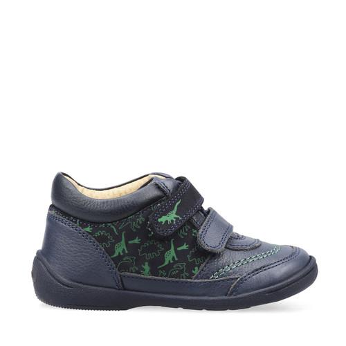 Start-Rite Story, navy blue leather/dinosaur print boys riptape boots 1484_9