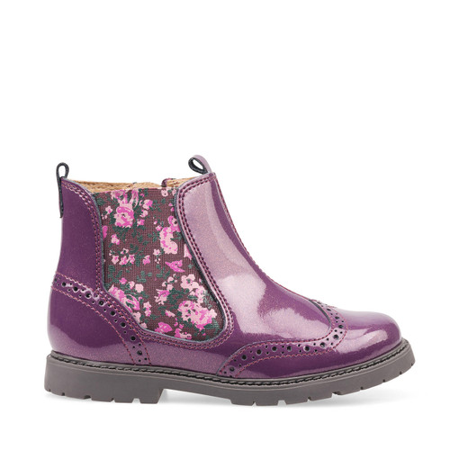 Start-Rite Chelsea, blackcurrant glitter patent girls zip-up ankle boots 1727_1