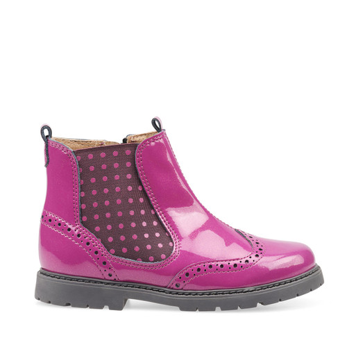 Start-Rite Chelsea, berry glitter patent girls zip-up ankle boots 1727_6