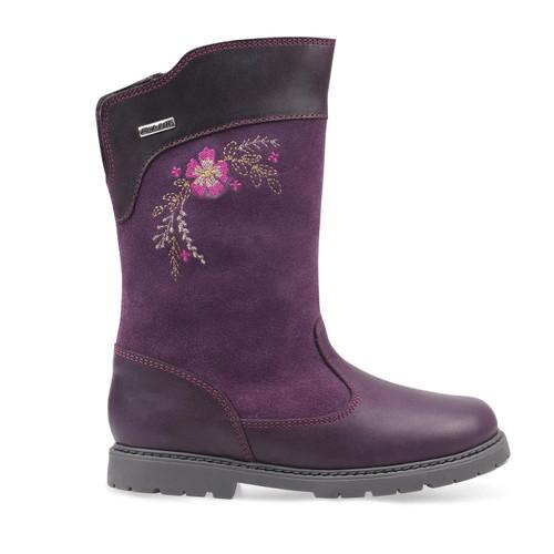 Start-Rite Splash, blackcurrant leather/suede girls zip-up water resistant boots 1730_1
