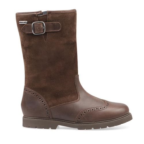 Start-Rite Toasty, brown leather girls zip-up water resistant boots 1738_0