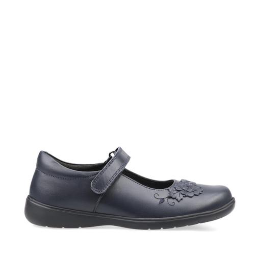 Start-Rite Wish, navy blue leather girls riptape school shoes 2800_9