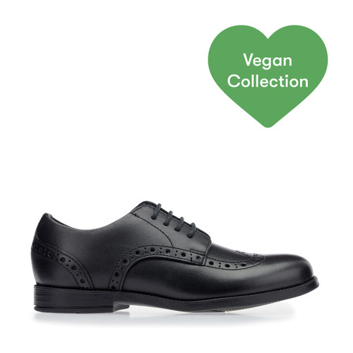Start-Rite Brogue Snr, vegan black synthetic lace-up school shoes 3503_4