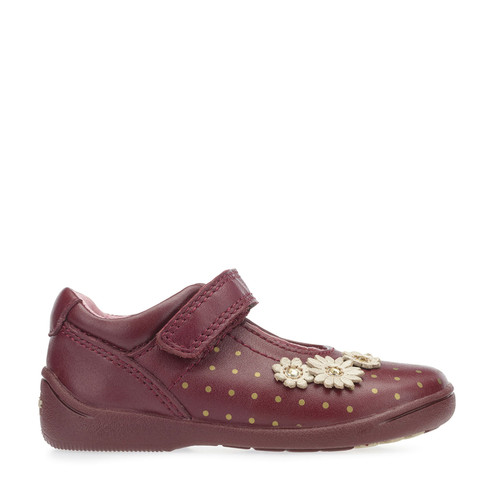 Start-Rite Super Soft Daisy, Wine Leather Girls Riptape First Walking Shoes 0396_7