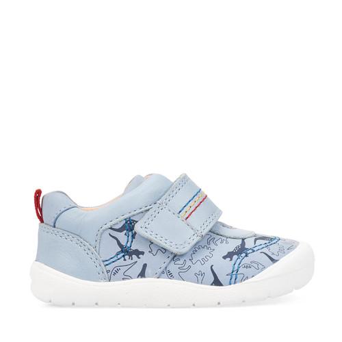 Start-Rite Footprint, pale blue dino print nubuck boys riptape first walking shoes 0769_2