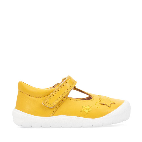 Start-Rite Sparkle, yellow leather girls riptape first walking shoes 0772_4