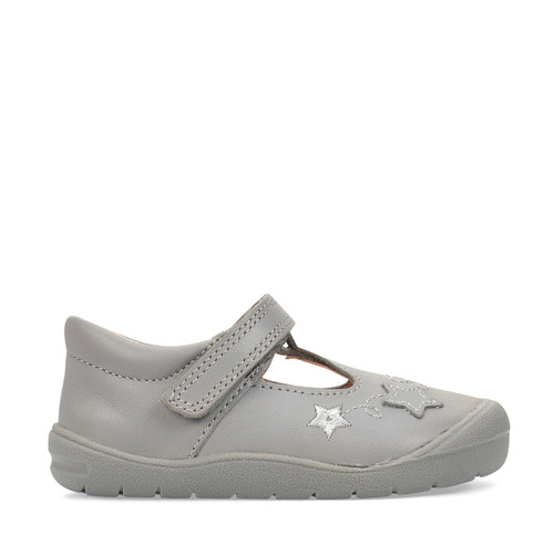 Start-Rite Sparkle, grey leather girls riptape first walking shoes 0772_5