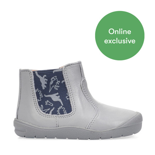Start-Rite First Chelsea, grey leather dino boys zip-up first walking boots 0776_5
