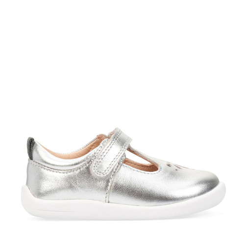 Start-Rite Puzzle, silver leather girls riptape first walking shoes 0779_5