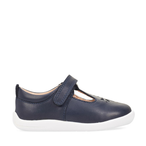 Start-Rite Puzzle, navy leather girls riptape first walking shoes 0779_9