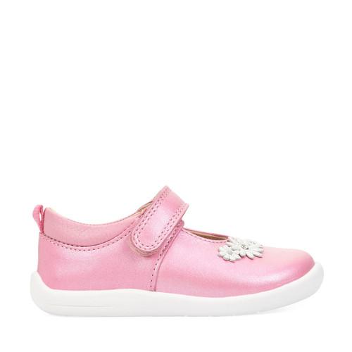 Start-Rite Fairy Tale, pink metallic leather girls riptape first walking shoes 0780_6