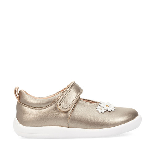 Start-Rite Fairy Tale, gold leather girls riptape first walking shoes 0780_8