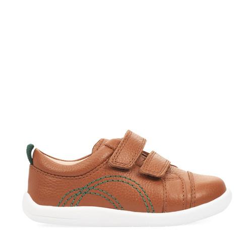 Start-Rite Tree House, tan leather boys riptape first walking shoes 0781_0