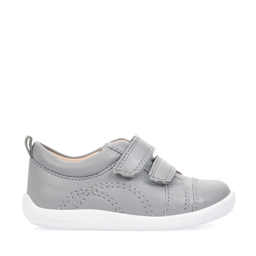 Start-Rite Tree House, grey leather riptape first walking shoes 0781_5
