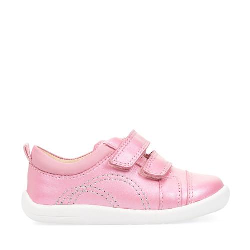 Start-Rite Tree House, pink metallic leather girls riptape first walking shoes 0781_6