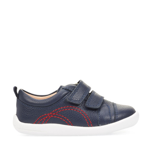 Start-Rite Tree House, navy leather boys riptape first walking shoes 0781_9