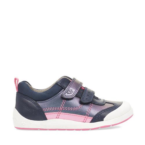 Start-Rite Tickle, navy metallic leather girls riptape pre-school shoes 1731_6