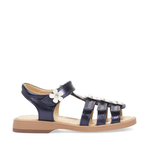 Start-Rite Picnic, navy metallic leather girls t-bar sandals 5188_9