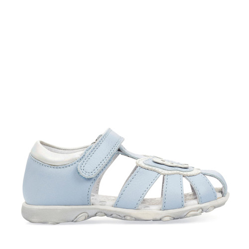 Start-Rite Charm, pale blue leather girls riptape closed toe first walking sandals 5192_2