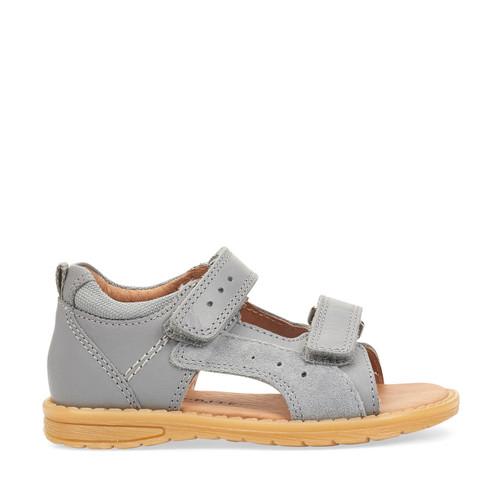 Start-Rite Breeze, grey leather boys riptape sandals 5194_5