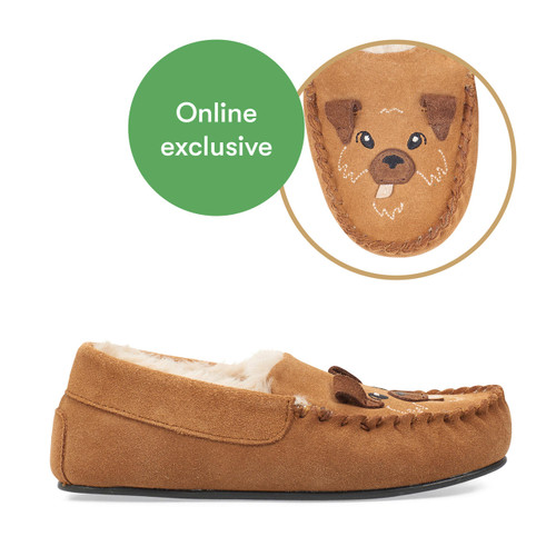 Start-Rite Snuggle, tan Suede Dog Slip-on Slippers 9932_0