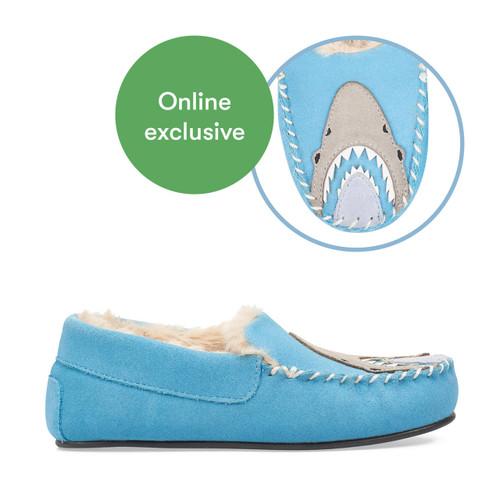 Start-Rite Snuggle, blue suede shark slip-on slippers 9932_2