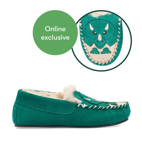 Start-Rite Snuggle, green suede dino slip-on kids slippers 9932_4