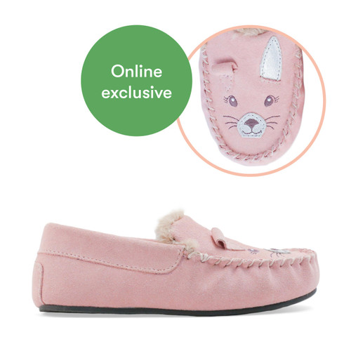 Start-Rite Snuggle, pink suede bunny slip-on slippers 9932_6