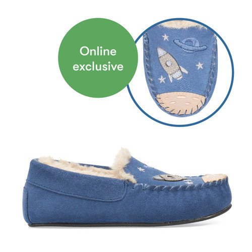 Start-Rite Snuggle, Blue suede space slip-on slippers 9932_9